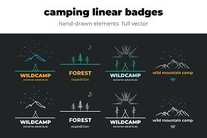 Camping linear Badges