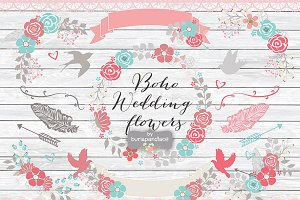 Vector Boho Wedding flower cliparts