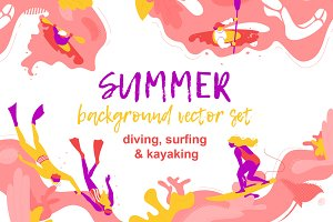 Summer background vector set