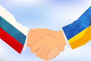 Russia and Ukraine handshake
