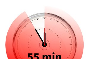 Clock with fifty five minutes timer
