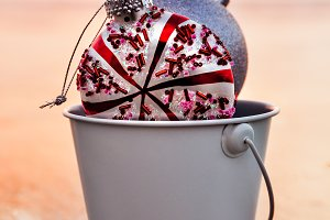 Decorations In A White Bucket