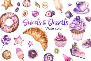 Desserts & sweets watercolor set