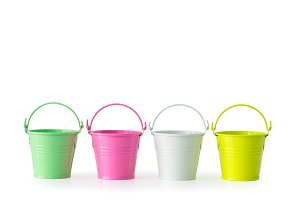 Four colorful buckets.