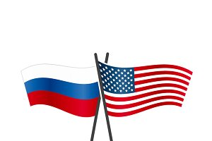 USA and Russia flags on poles