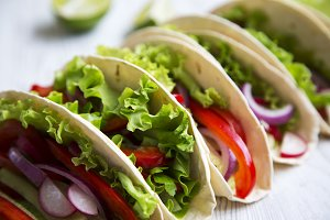 Closeup. Corn tortillas with lettuce