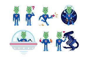 Alien Flat Mascot Clipart