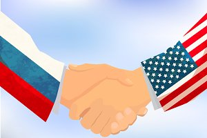 USA and Russia handshake