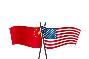 USA and China flags on poles
