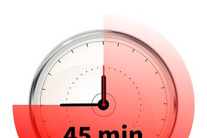 Clock with forty five minutes timer