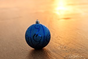 Blue Christmas Ball At The Beach