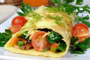 Omelet stuffed with vegetables