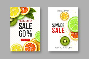 Summer sale banners with sliced citrus and kiwi pieces, leaves and dotted pattern. White background - template for seasonal discounts, vector illustration.