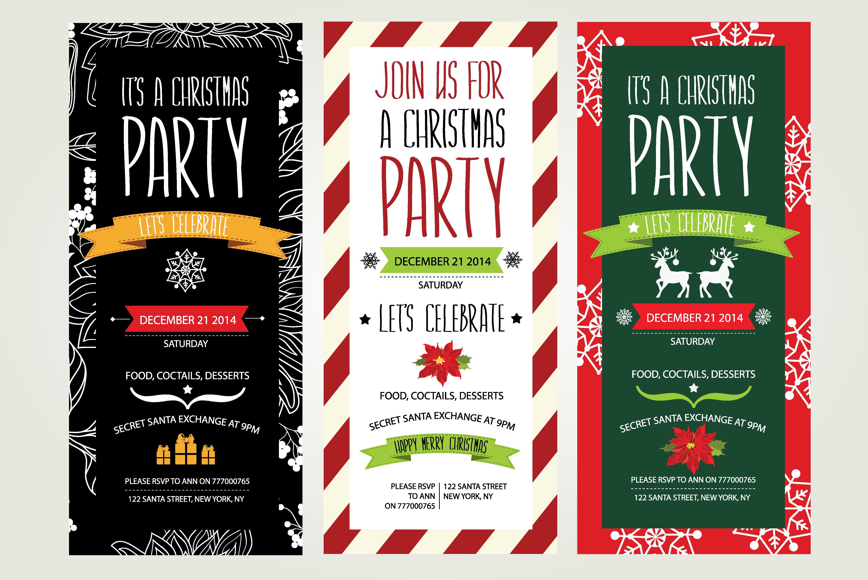 3 christmas invitations  invitation templates  creative