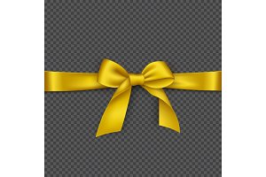 Realistic golden bow and ribbon. Element for decoration gifts, greetings, holidays, vector illustration.