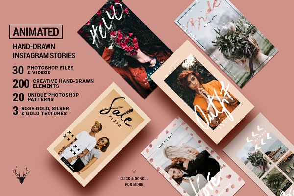 Social Media Templates - ANIMATED Rose Gold Instagram Stories