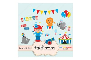 Big Top Circus Boy Clipart Set
