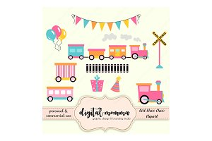 Girl Choo Choo Train Clipart Set