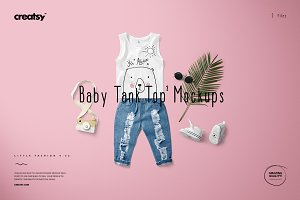 Baby Tank Top Mockup Set 2