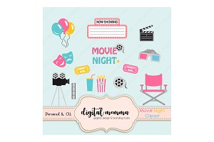 Girl Movie Night Clipart Set