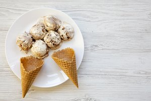 Top view, ice cream in white plate