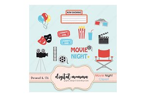 Movie Night, Theatre Clipart Set