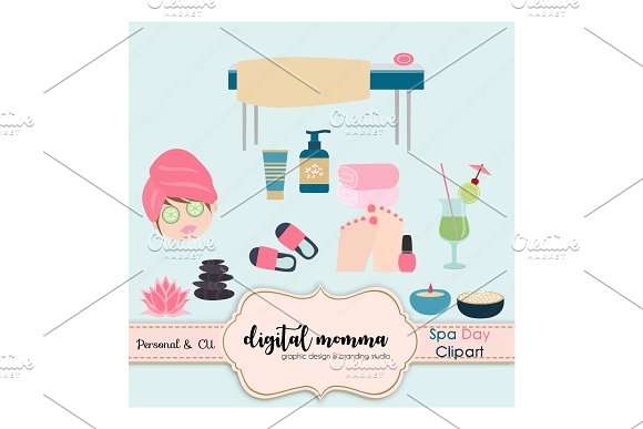spa day clipart set illustrations creative market