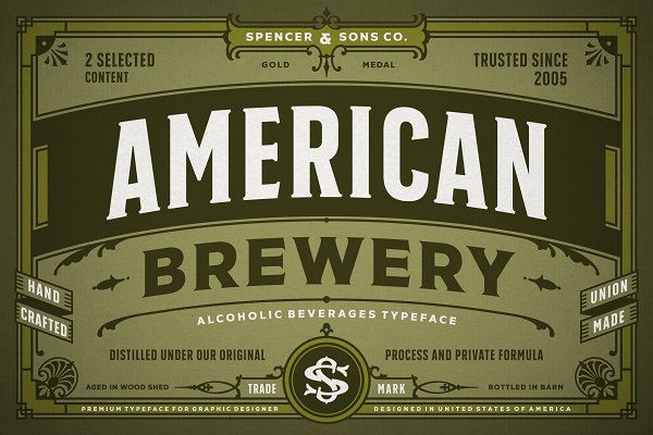 Display Fonts: Spencer & Sons Co. - S&S American Brewery (Promo)