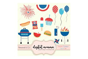 Patriotic, Bar-B-Que Clipart Set