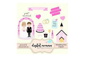 Wedding, Save The Date Clipart Set
