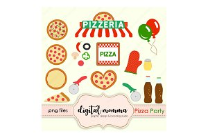 Pizza Party Clipart Set