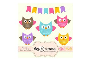 Girl Owls Clipart Set