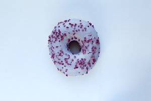 Delicious donut, top view.