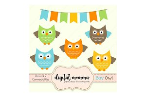 Boy Owl Clipart Set