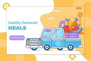 Fast delivery of fresh vegetable.Farm fresh delivery.Flat vector illustration