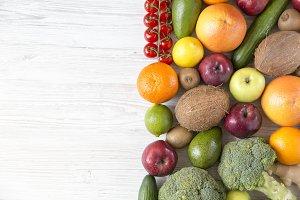 Different fresh organic fruits