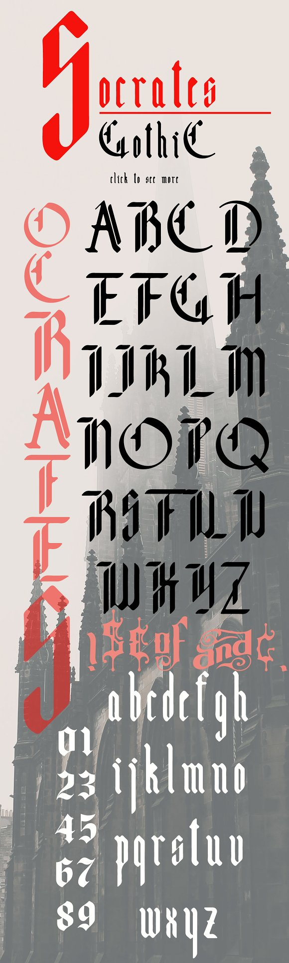 Socrates, modern gothic font