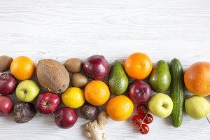 Variety of fresh organic fruits