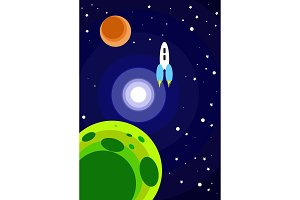 Cartoon rocket in space.Vector illustration
