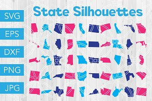State Silhouettes SVG Bundle