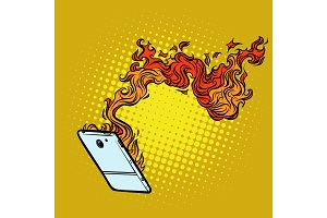 smartphone flames. destruction of technology