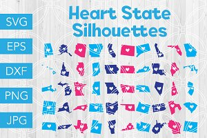Heart State Silhouettes SVG Bundle