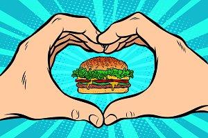 Burger, hand gesture heart
