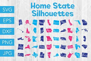 Home State Silhouette SVG Bundle