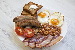 English breakfast on a white wooden