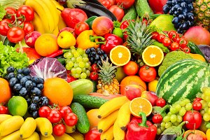 fresh ripe fruits and vegetables