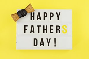 Happy Fathers Day text on lightbox