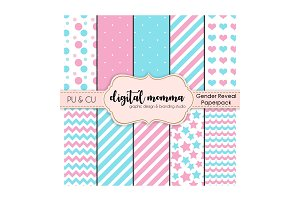 12x12 Gender Reveal Digital Paper