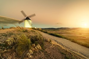 windmill, wind, quixote