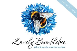 Lovely bumblebee. Set of posters.